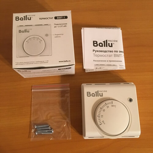 Комплектация терморегулятора Ballu BMT-1.