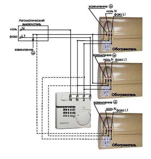 Схема подключения нескольких обогревателей к терморегулятору Eberle RTR – E3563 на нагрузку до 3,5 кВт