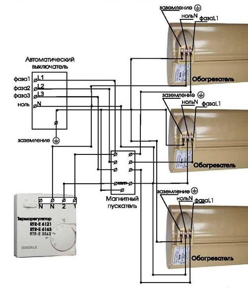 Схема подключения терморегулятора Eberle RTR – E3563 через магнитный пускатель