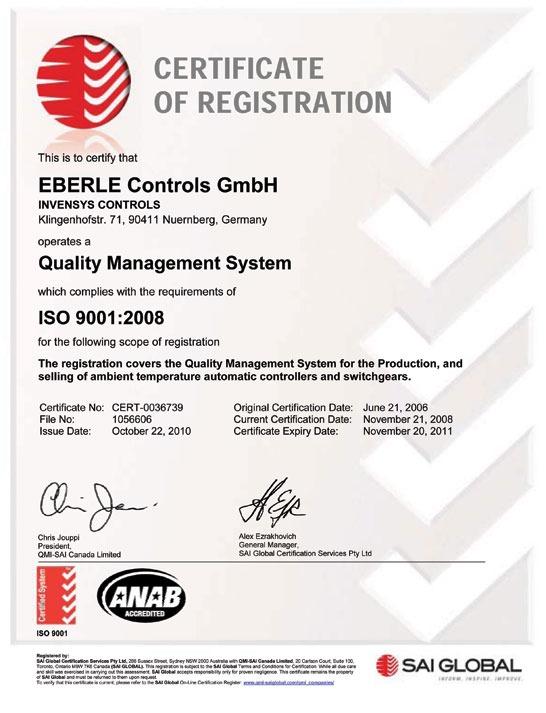 Европейский сертификат соответствия на терморегулятор Eberle RTR – E6163
