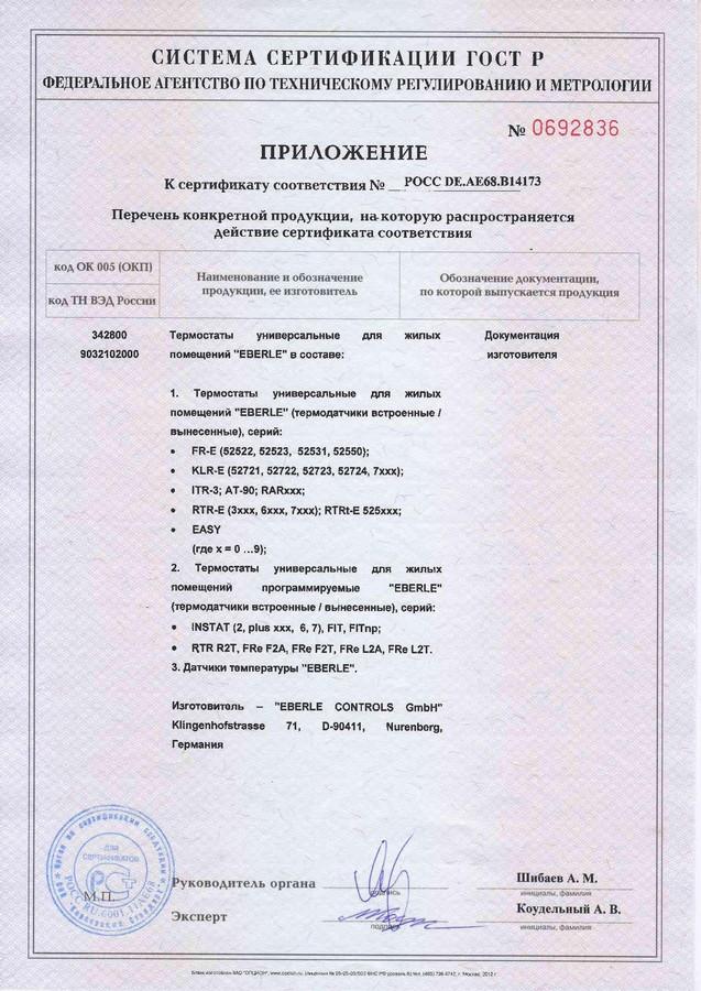 Сертификат соответствия на терморегулятор Eberle RTR – E6163
