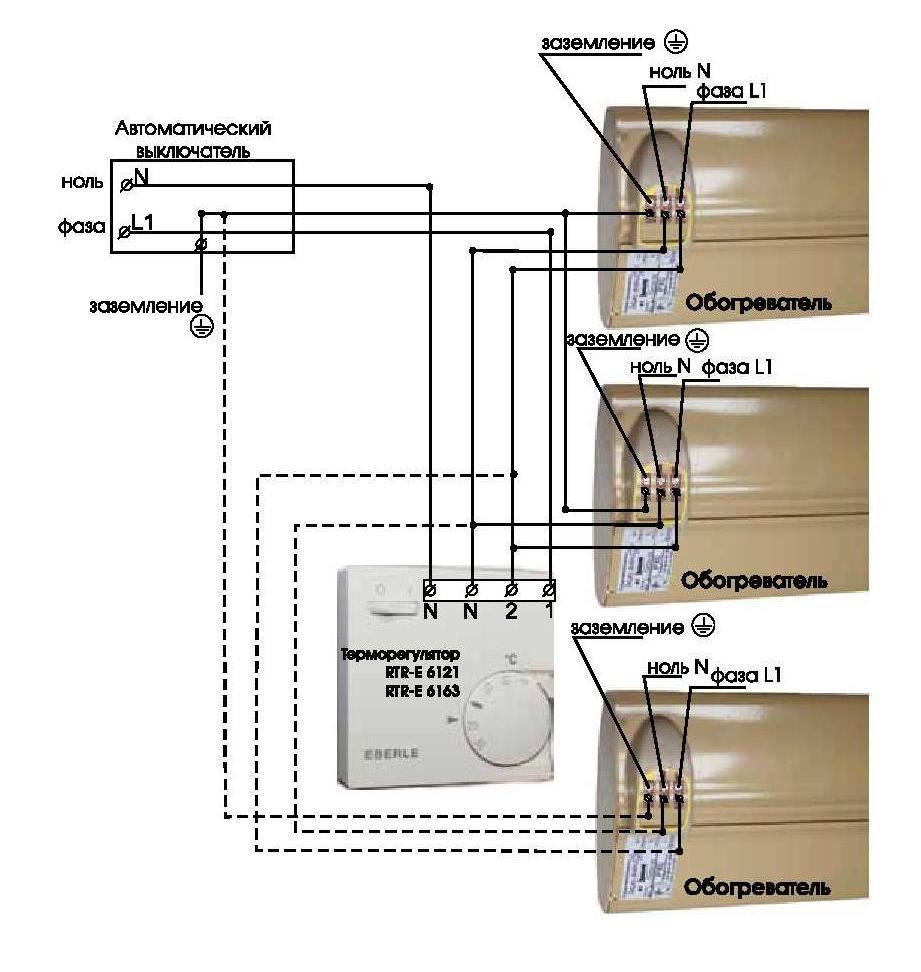 Схема подключения нескольких обогревателей к терморегулятору Eberle RTR – E6163 на нагрузку до 3,5 кВт