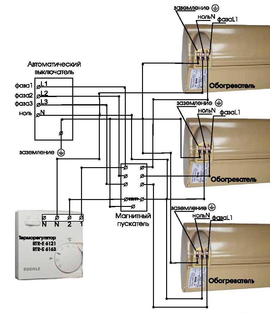 Схема подключения терморегулятора Eberle RTR – E6163 через магнитный пускатель