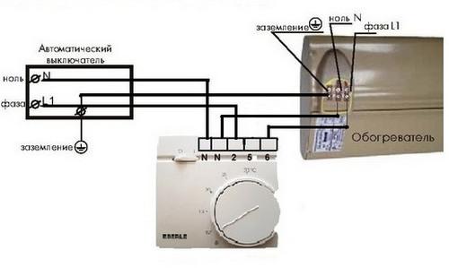 Схема подключения терморегулятора Eberle RTR – E9164 на нагрузку до 3 кВт