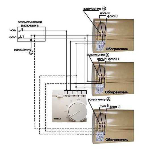 Схема подключения нескольких обогревателей к терморегулятору Eberle RTR – E9164 на нагрузку до 3 кВт