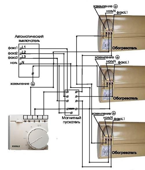 Схема подключения терморегулятора Eberle RTR – E9164 через магнитный пускатель
