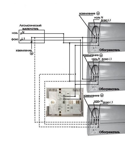 Схема подключения нескольких обогревателей к терморегулятору Frontier TH 0108F мощностью до 3,5 кВт