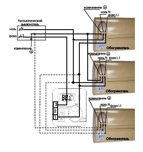 Схема подключения нескольких обогревателей к терморегулятору Frontier TH-0343SA на нагрузку до 1,7 кВт