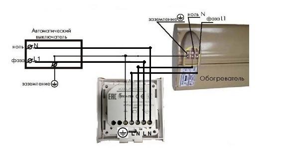 Схема подключения обогревателя к терморегулятору Frontier TH-920D(TX) мощностью до 3,5 кВт