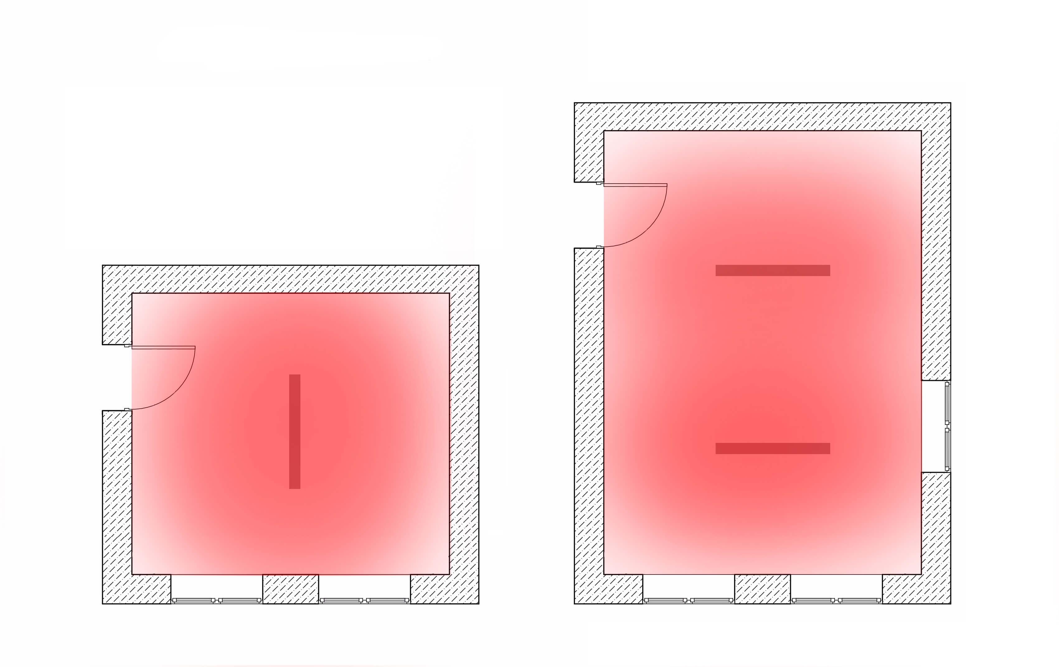 Примеры расположения потолочных нагревателей