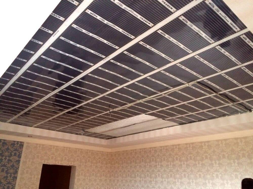 Монтаж термопленки на потолок