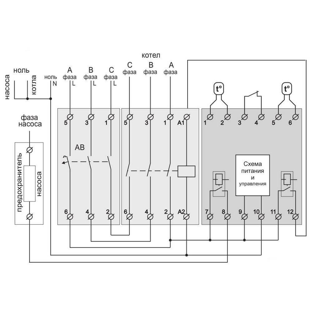 Подключение Terneo BeeRT через магнитный пускатель