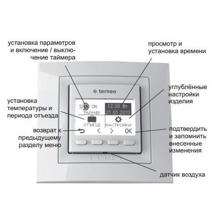 Описание меню терморегулятора Terneo pro*(light)