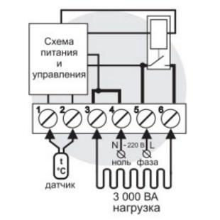 Схема подключения и упрощенная внутренняя схема Terneo pro*(light)