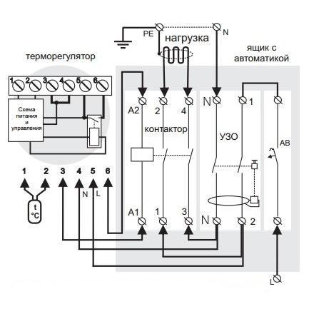 Подключение терморегулятора Terneo pro*(light) через магнитный пускатель