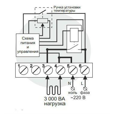 Схема подключения и упрощенная внутренняя схема <nobr>Terneo rol</nobr>