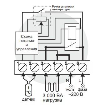 Схема подключения и упрощенная внутренняя схема Terneo rtp