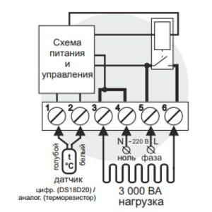 Схема подключения и упрощенная внутренняя схема Terneo st