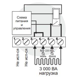 Схема подключения и упрощенная внутренняя схема Terneo vt
